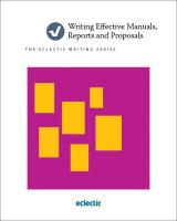 Writing Effective Manuals, Reports and Proposals Book Cover